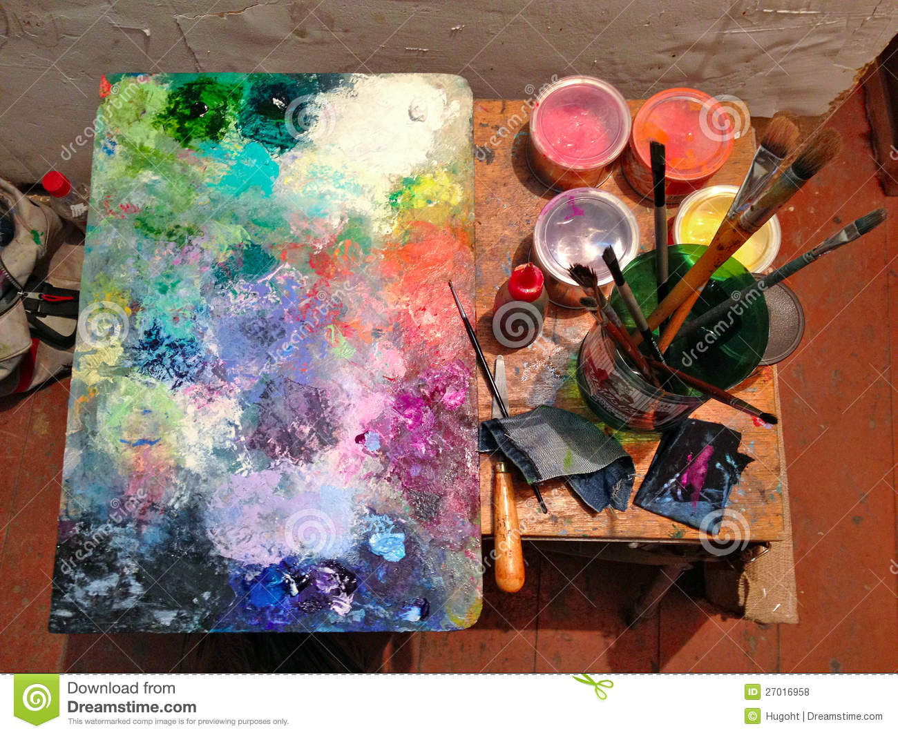 Paint Brushes And Canvas Royalty Free Stock Photos - Image: 27016958