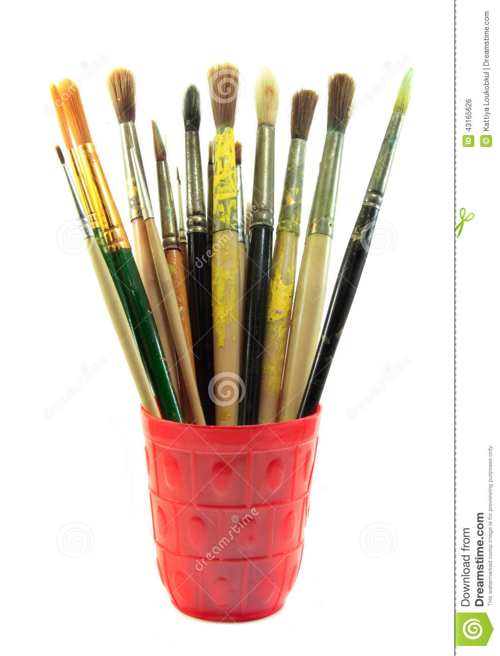 Paint Brushes Set In The Red Cup Stock Photo Image 43165626