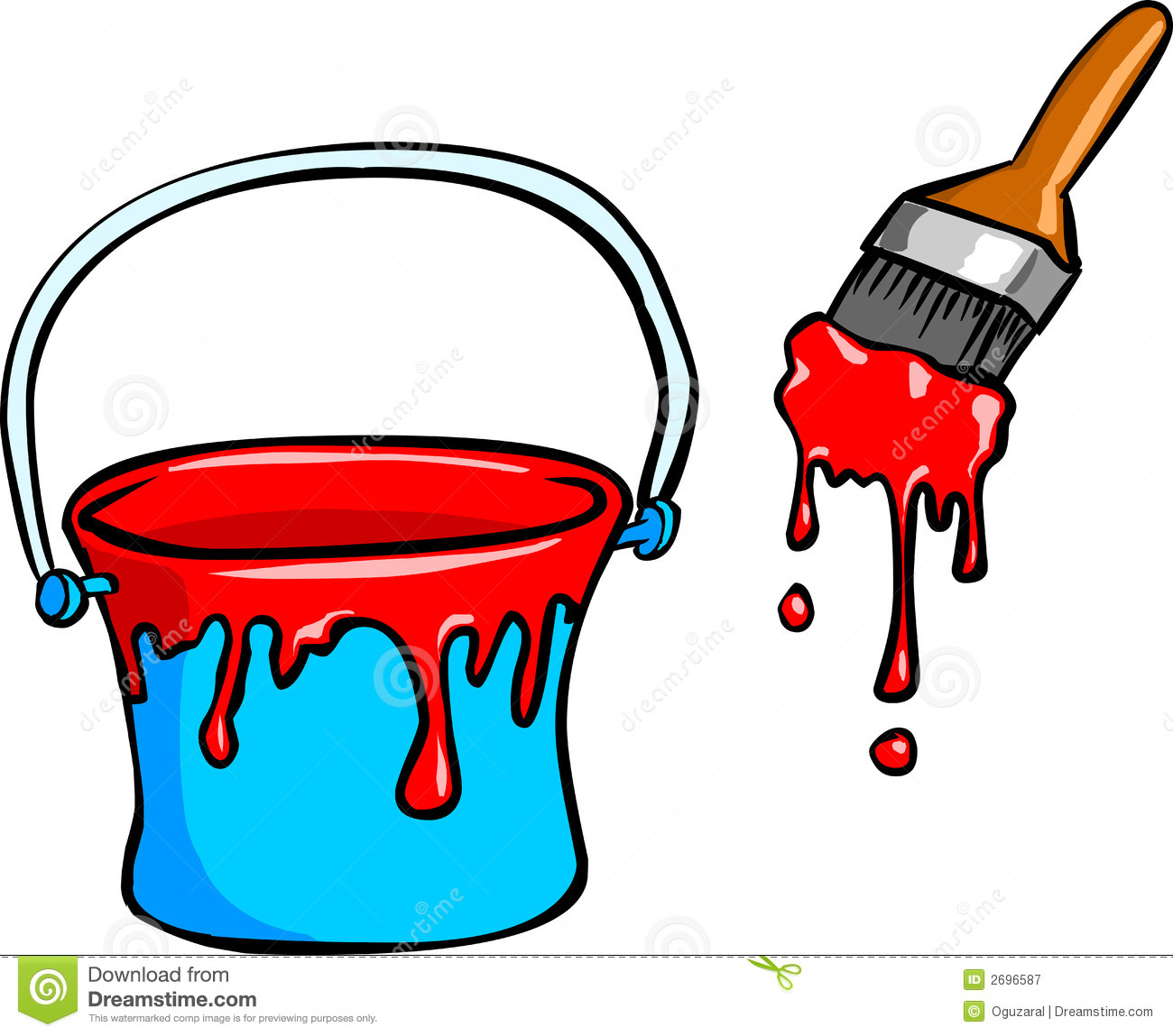 Paint Bucket And Brush Royalty Free Stock Photography - Image: 2696587