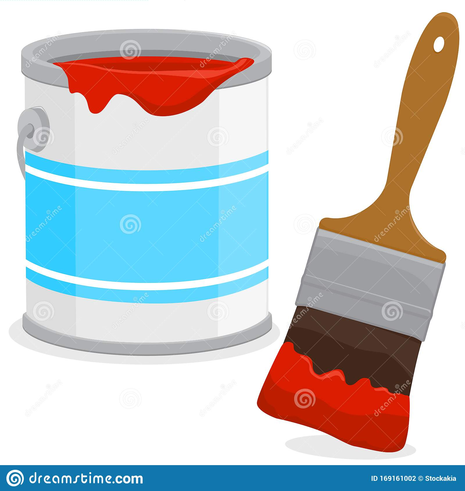 Paint Bucket And A Brush Vector Illustration Stock Vector Illustration Of Paintbrush Tools 169161002