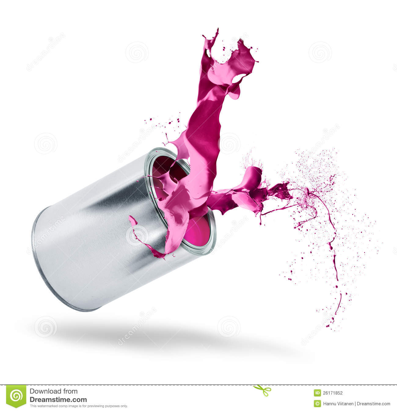 Paint Can Falls Color Splash Stock Photo - Image of silver ...