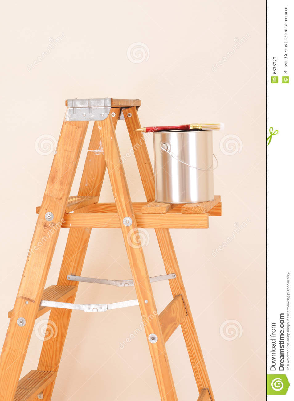 Editorial Calendar Design : Paint can on ladder stock photo image