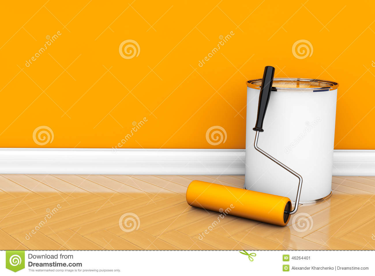 painting of walls in a orange color paint can with roller brush. Black Bedroom Furniture Sets. Home Design Ideas