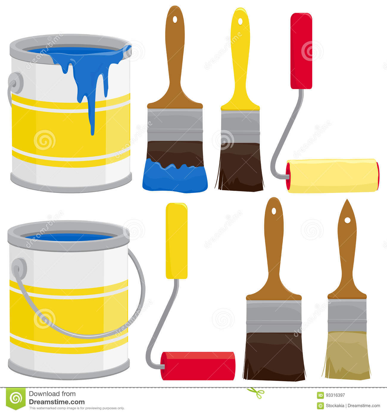 Paint Cans, Brushes And Rollers Stock Vector - Illustration