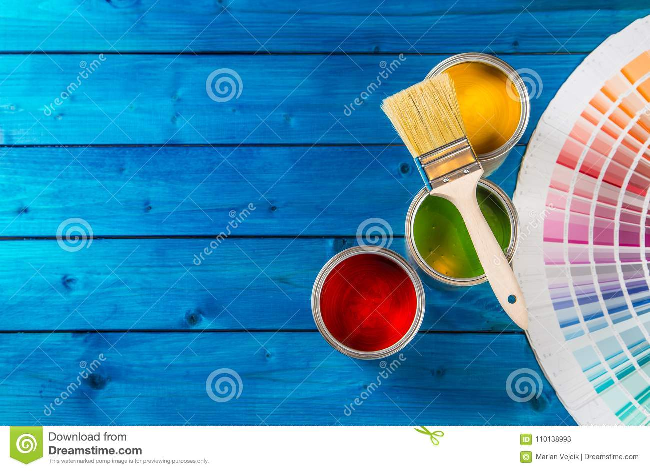 Download Paint Cans Color Palette, Cans Opened With Brushes On Blue Table Stock Image - Image of roller, renovation: 110138993