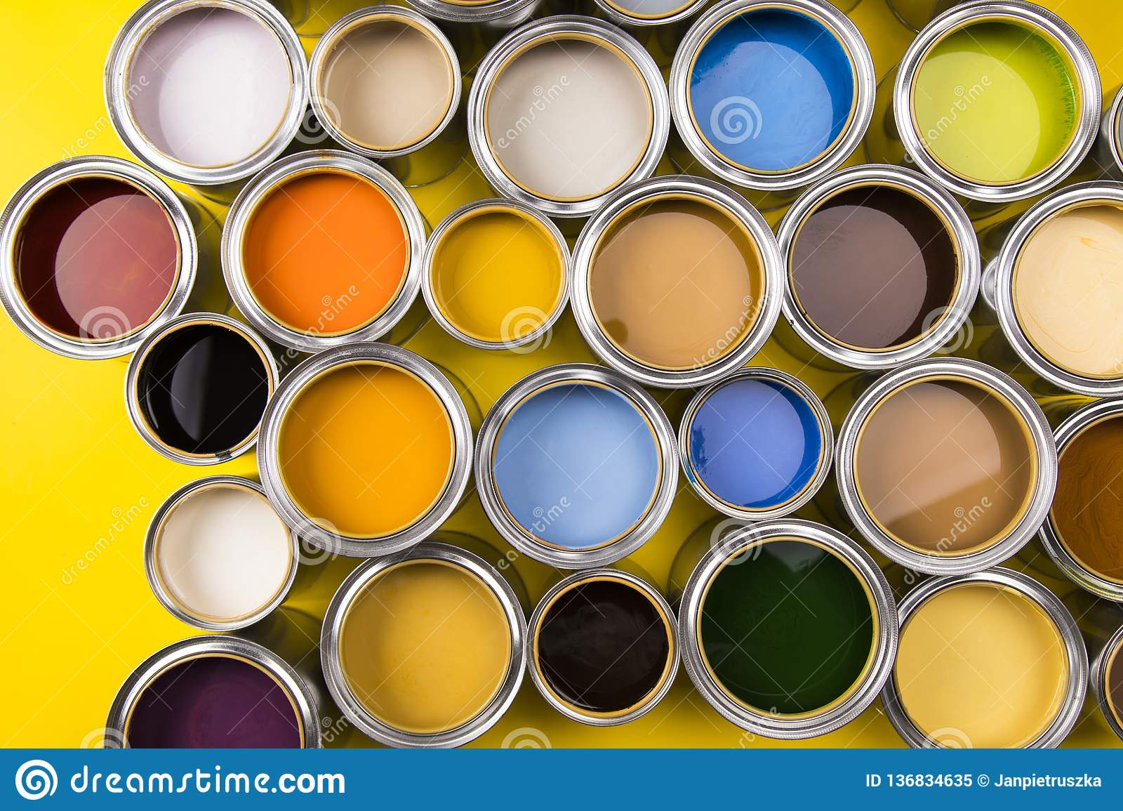 Paint cans color palette, yellow background