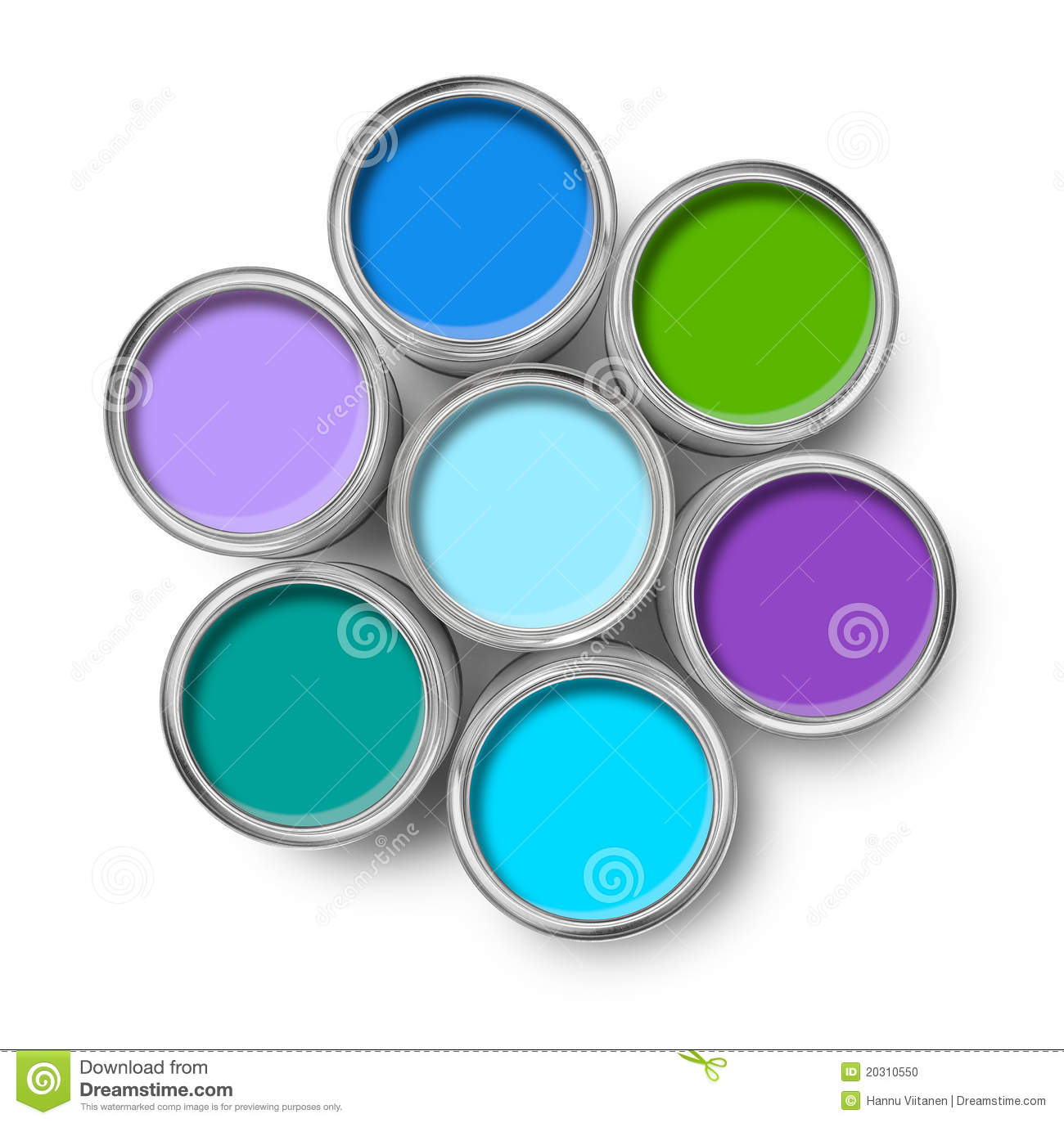 Colors: Paint Cans Cool Colors Palette Stock Photo