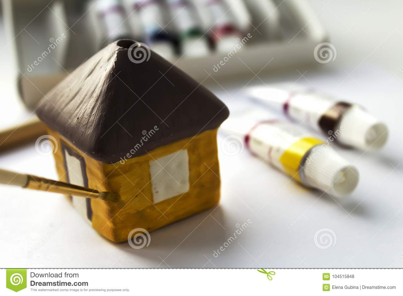 Paint ceramic decorative home acrylic paints stock photo for Ceramic house paint