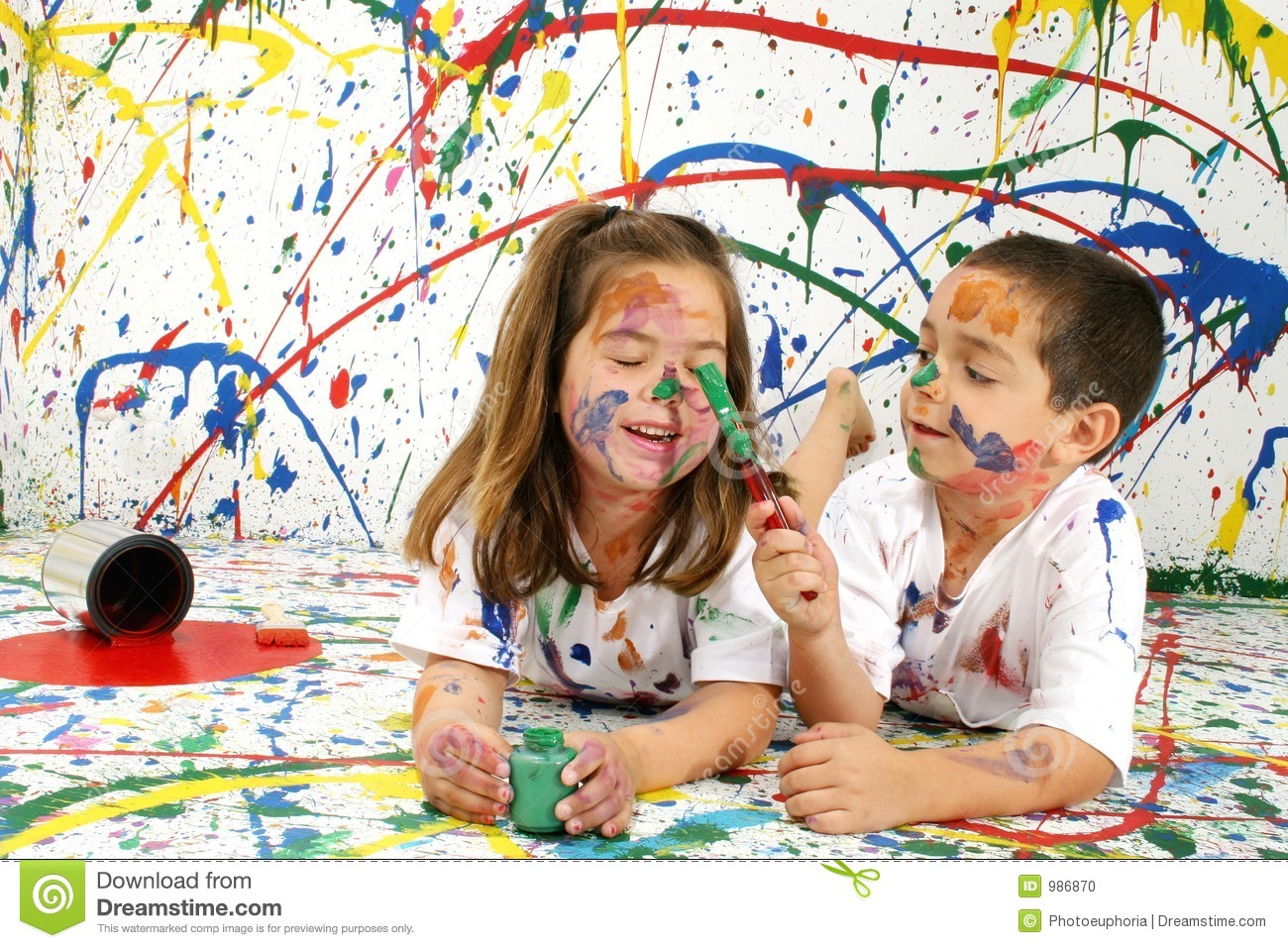 Paint Children stock photo. Image of colorful, happy, full ...