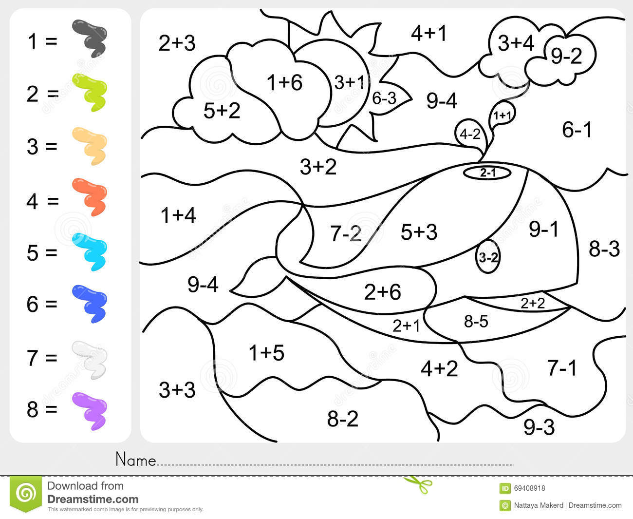 Paint Color By Numbers Worksheet For Education Vector – Color by Addition Worksheets Free