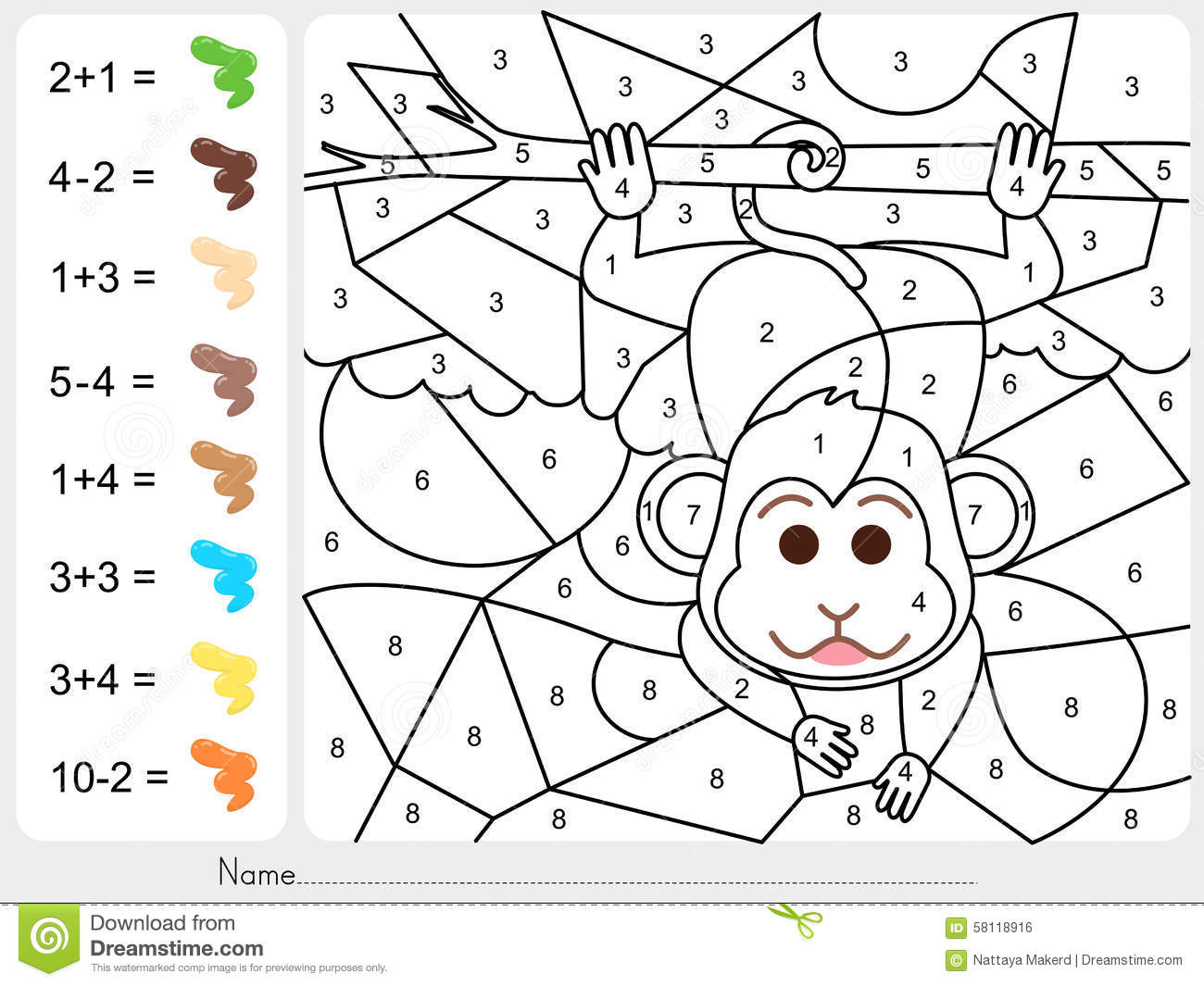 Paint Color By Numbers - Worksheet For Education Stock Vector ...