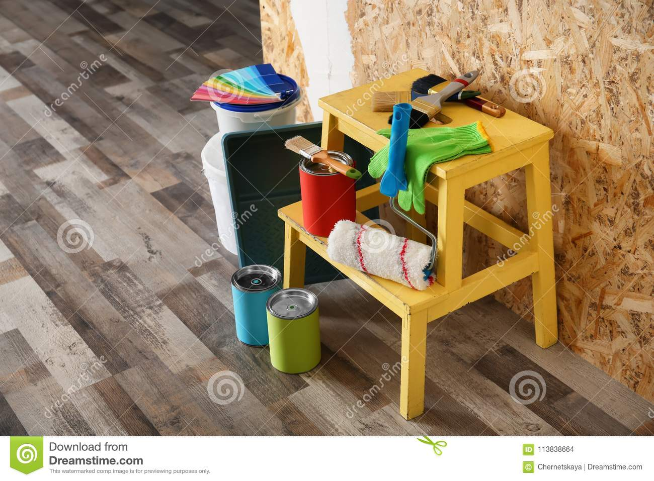 Paint and decorator`s tools