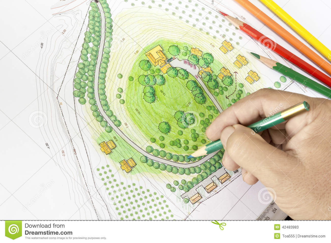 Paint the landscape design plan stock photo image 42483983 for Landscape design site