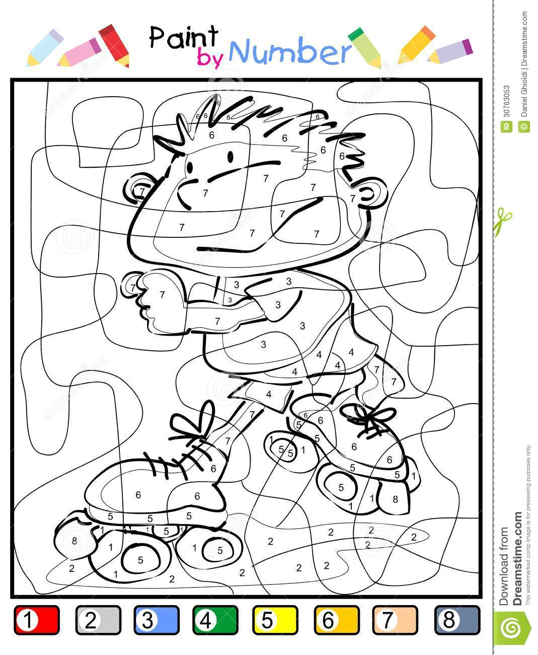 Paint By Number - Child Skating Stock Vector - Illustration of ...