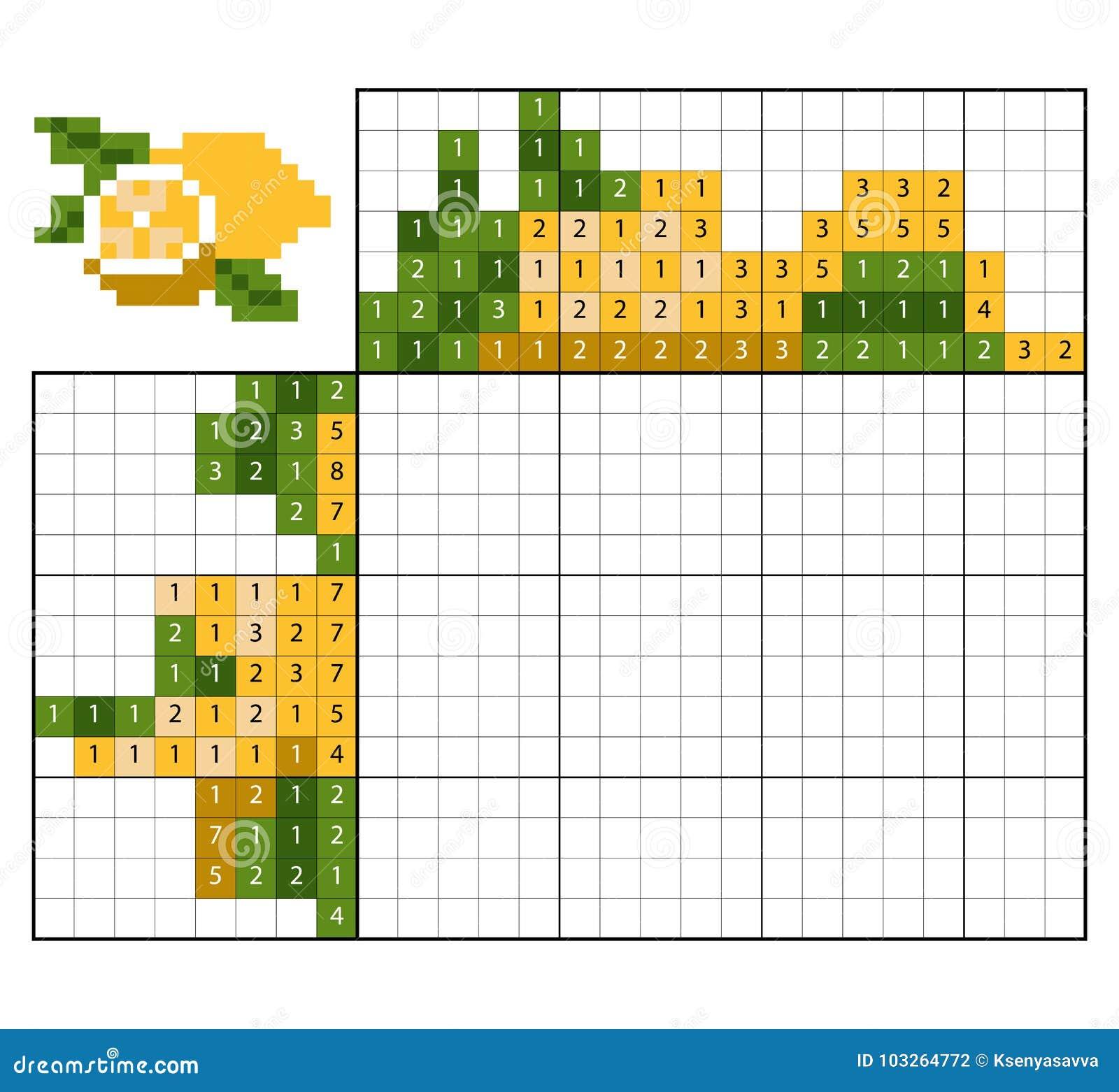 paint by number puzzle nonogram lemon stock vector illustration of coloring leisure 103264772. Black Bedroom Furniture Sets. Home Design Ideas
