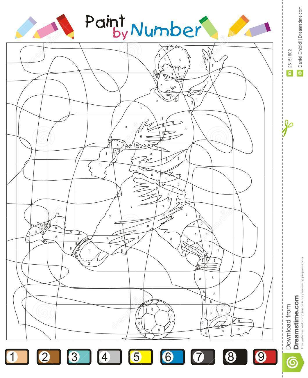 paint by number the soccer player stock photography image