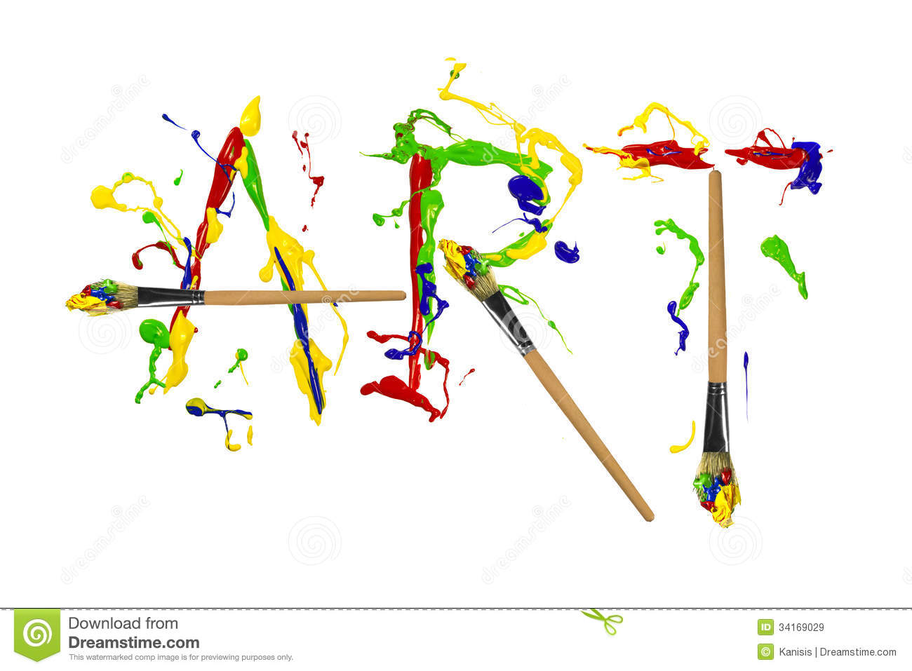 Paint And Painbrushes Painted Word Art Stock Illustration