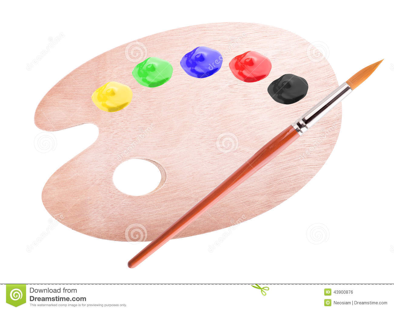 Paint Palette And Brush Stock Photo - Image: 43900876