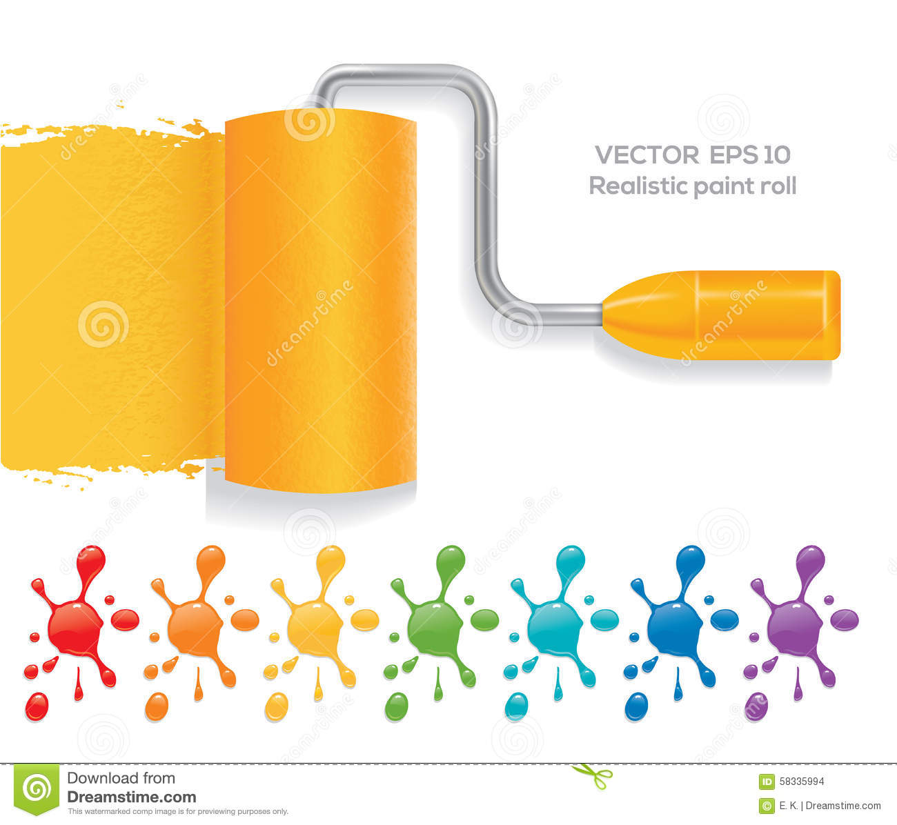Paint Roll Stock Vector Image 58335994