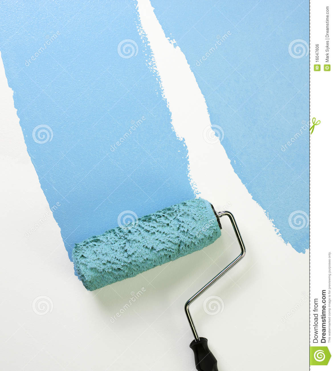 Paint Roller Applying Blue Paint Royalty Free Stock Image