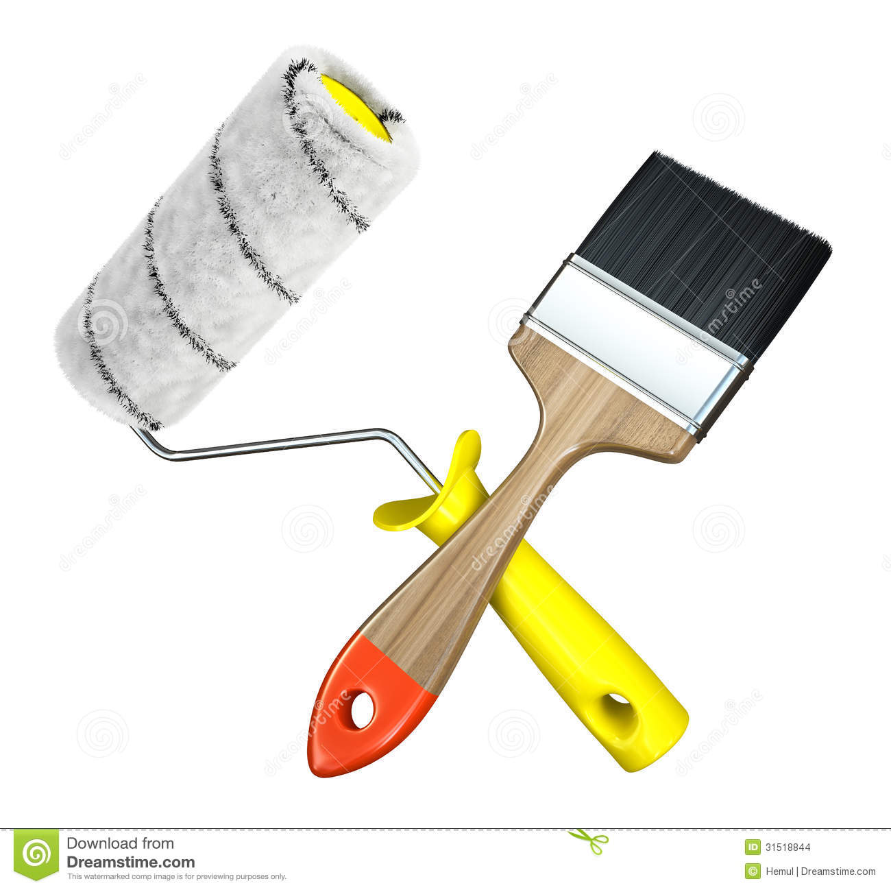 Paint Roller And Brush Isolated On White Background Stock Images - Image: 31518844