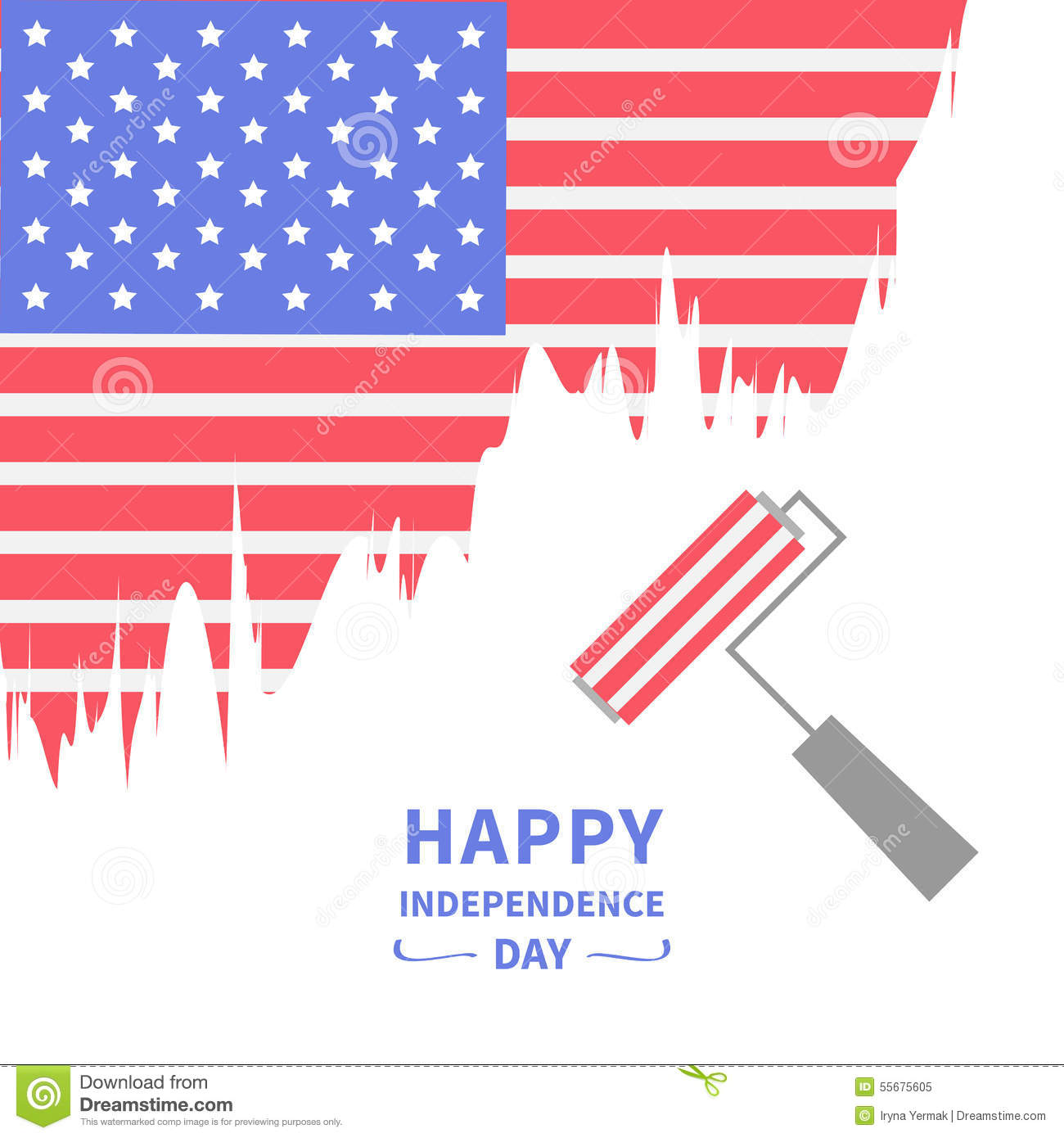 Paint Roller Brush Star And Strip Flag Happy Independence