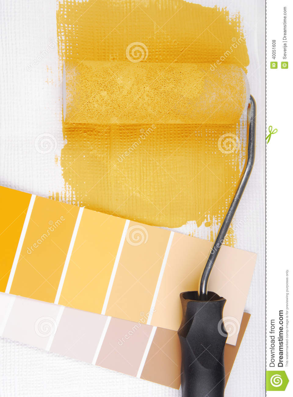 Paint Roller And Color Chart Choice Stock Photo Image Of Industry