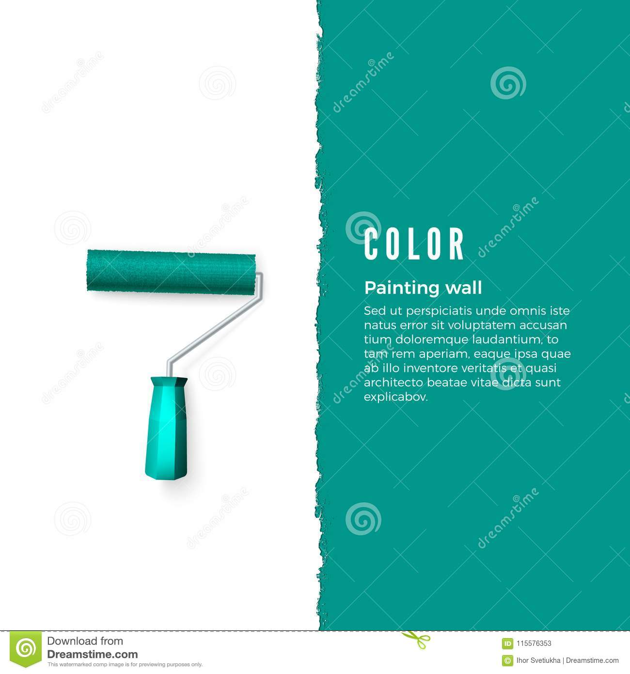 Paint Roller With Green Paint And Space For Text Or Other Design On