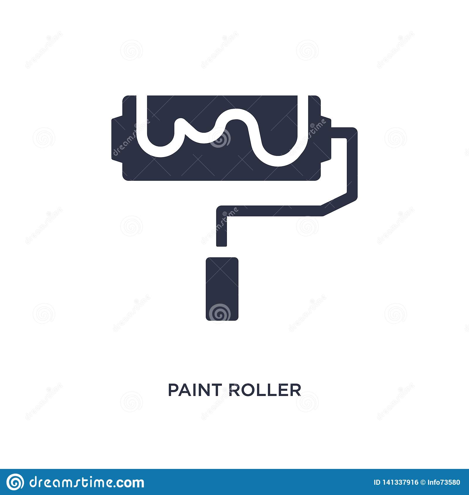 paint roller icon on white background. Simple element illustration from construction tools concept