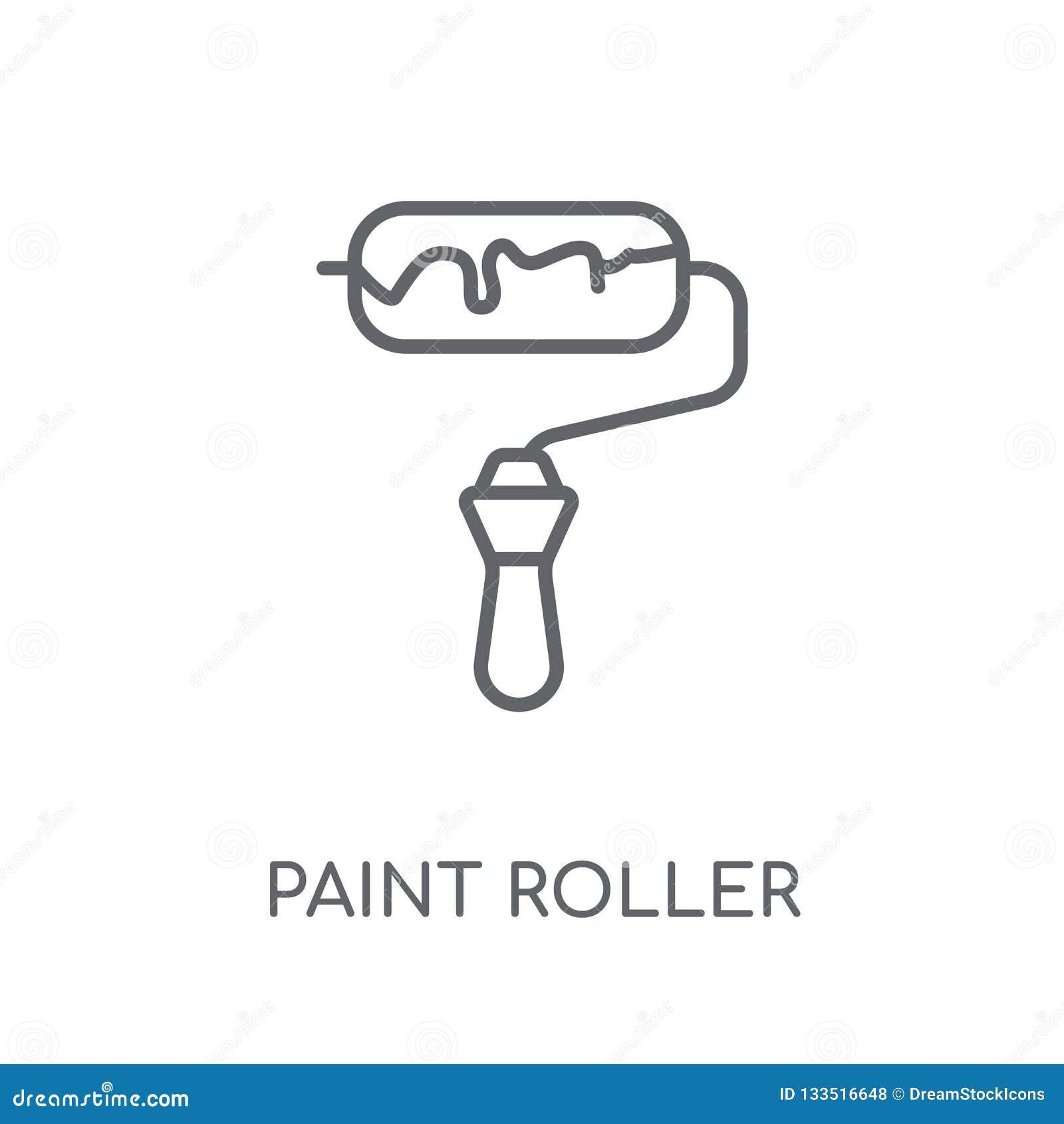 Paint Roller Linear Icon  Modern Outline Paint Roller Logo