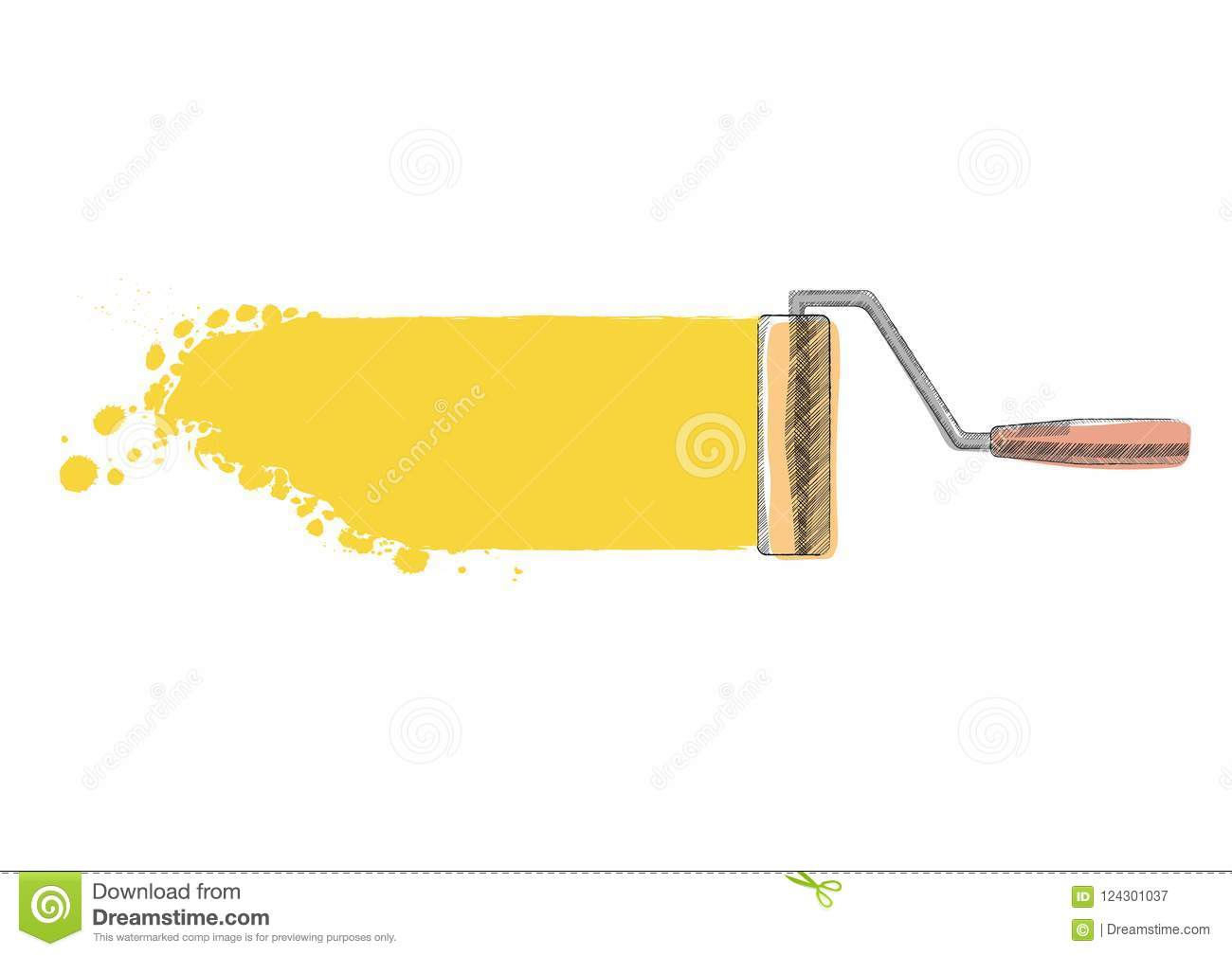 Paint roller. Painted stock vector. Illustration of creative - 124301037