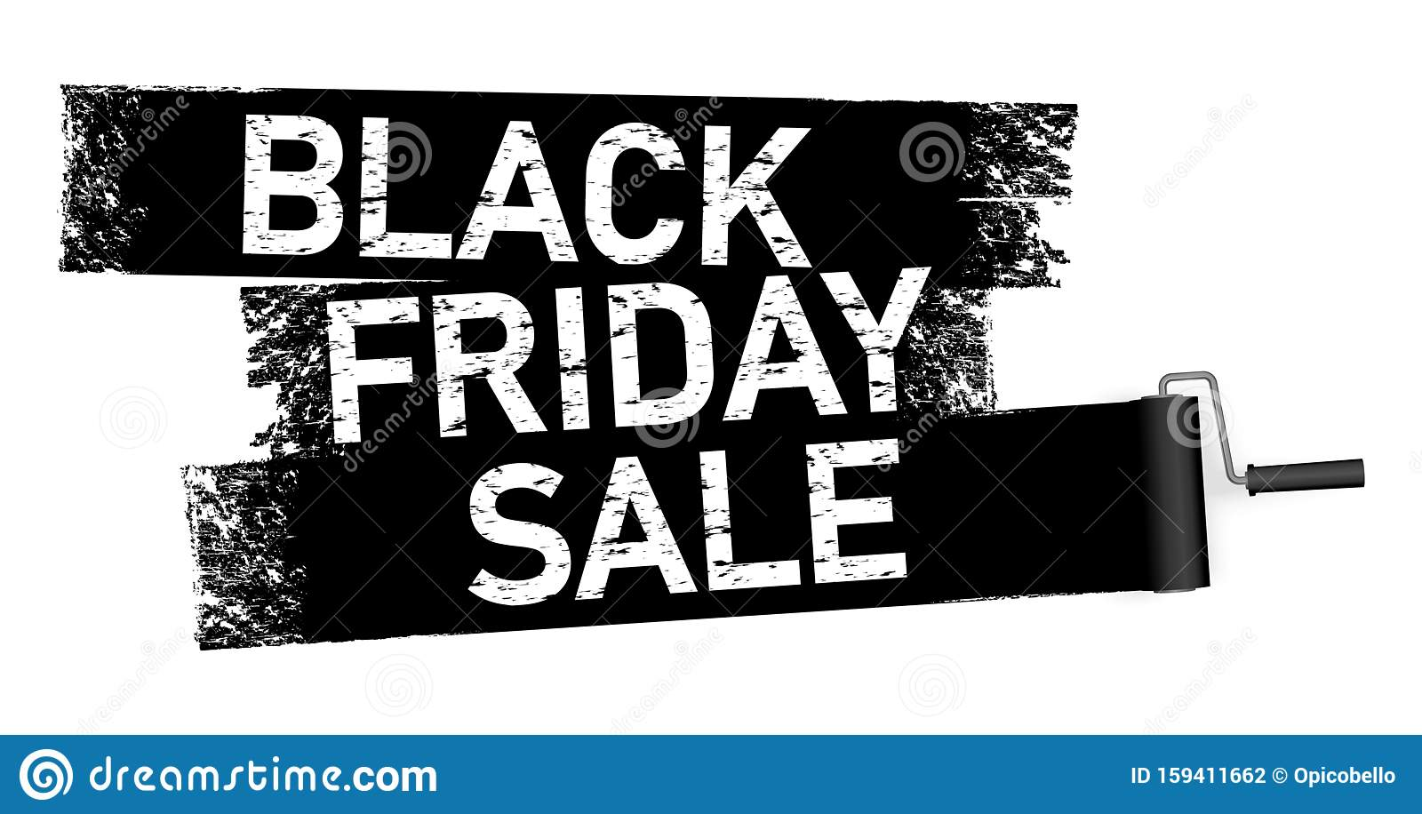 Paint Roller Painting Black Friday Sale Stock Vector Illustration Of Cheap Promotion 159411662