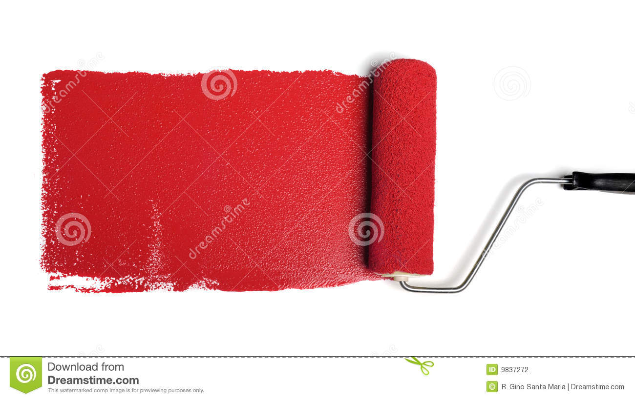 Paint Roller With Red Paint