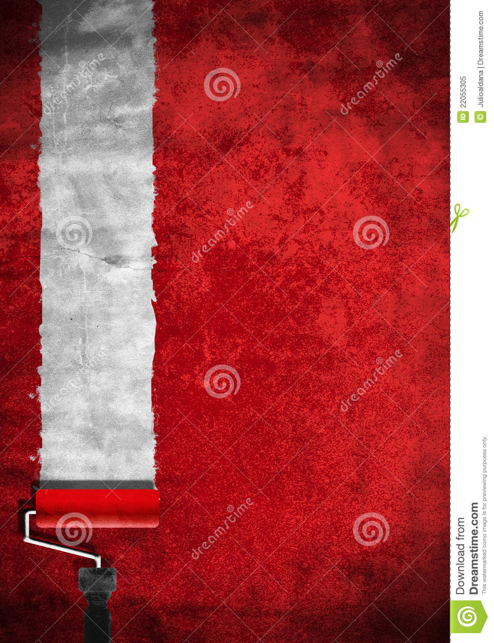 Paint Roller With Red Paint On White Wall Royalty Free