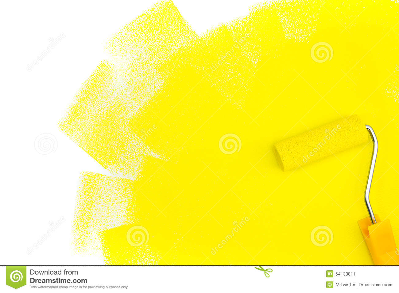 Paint Roller With Yellow Paint Stock Image - Image of nobody, home ...