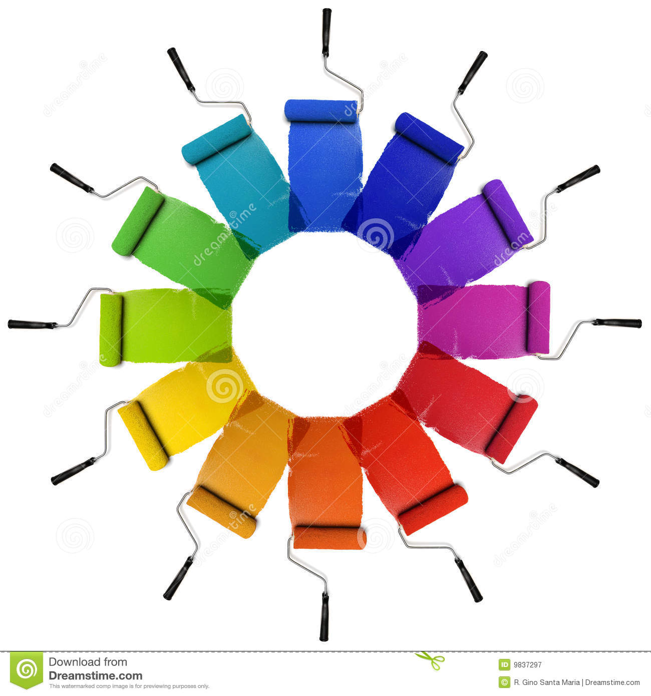 Paint Rollers With Color Wheel Hues Stock Image