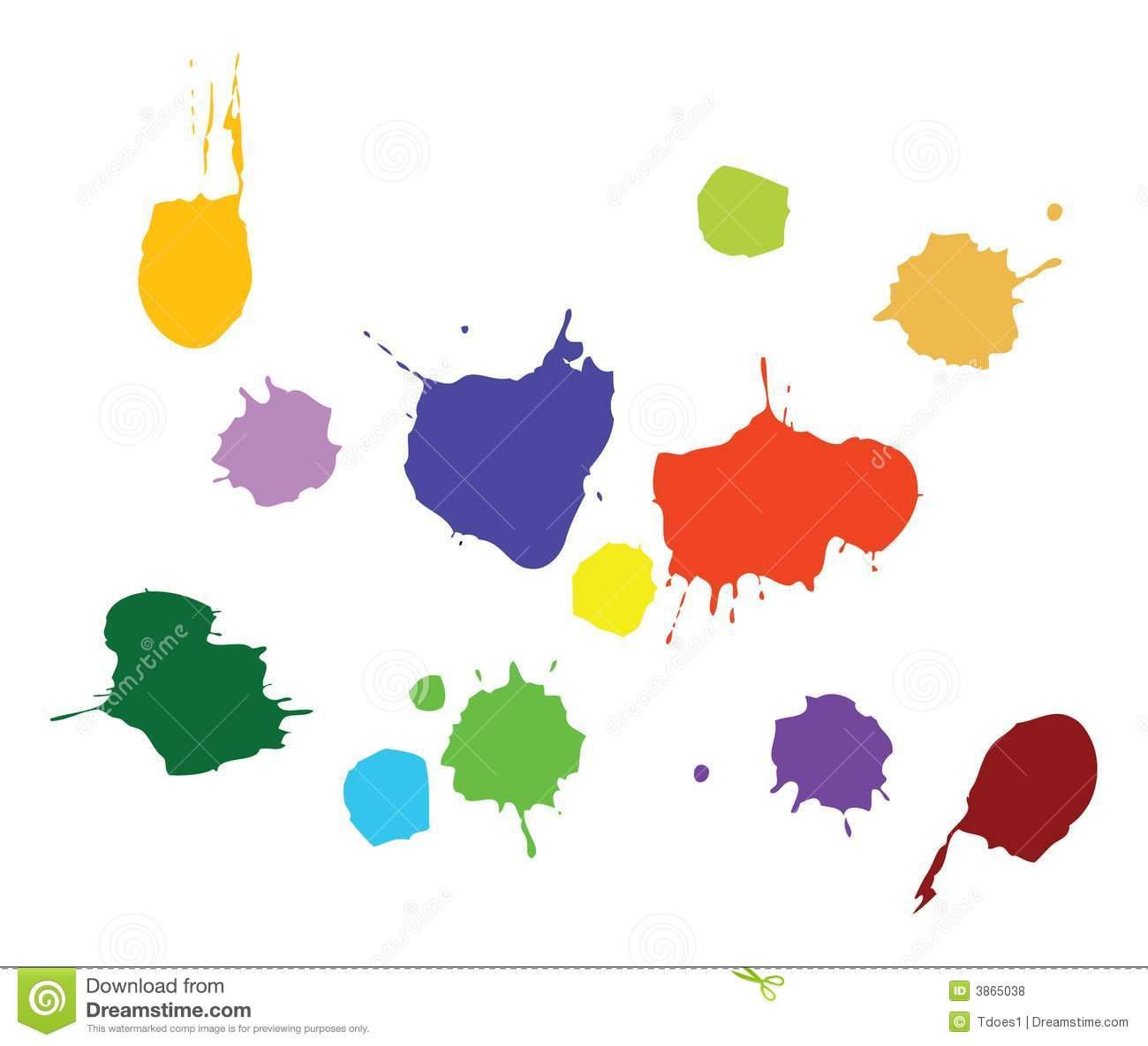 Vector drawing of editable paint splat marks as a design element on a ...