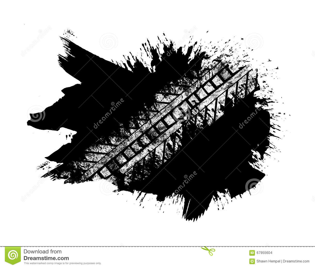 Paint splatter and strokes with tire track overlay