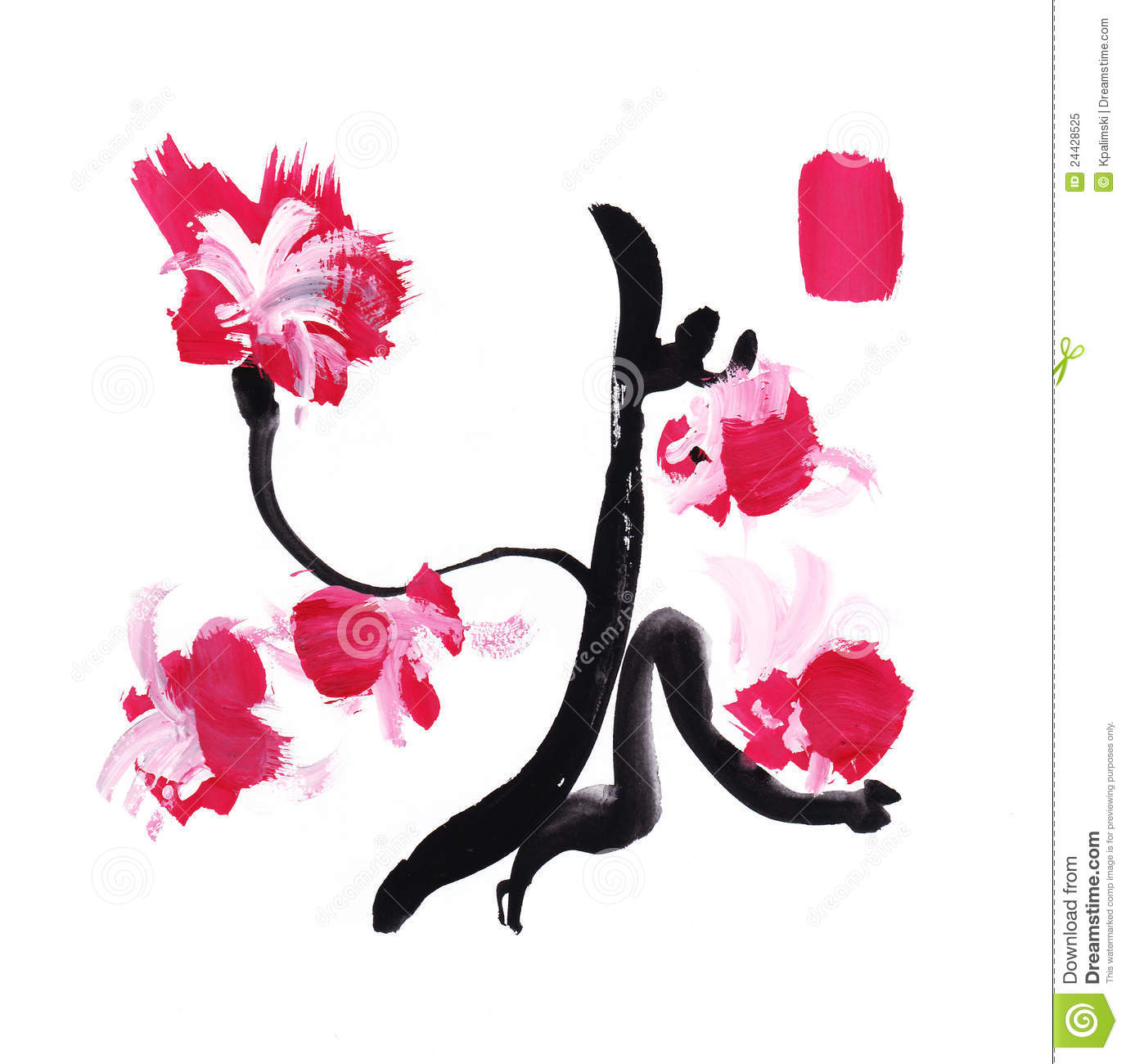 Paint stroke japan calligraphy flowers royalty free stock