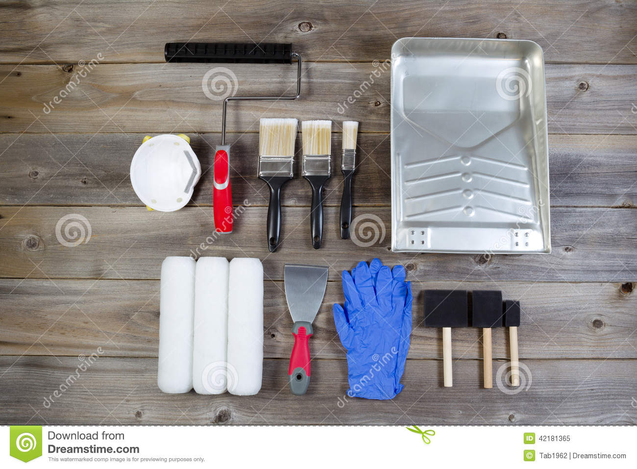 Paint Supplies On Rustic Wood Stock Image Image 42181365