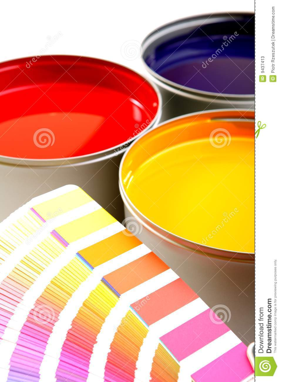 Paint swatch with paint cans