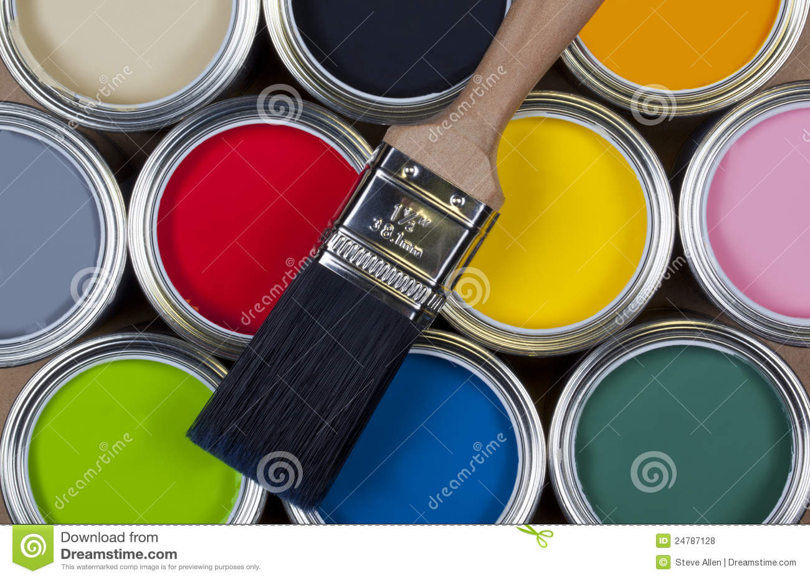 Paint - Cans of colorful emulsion paint