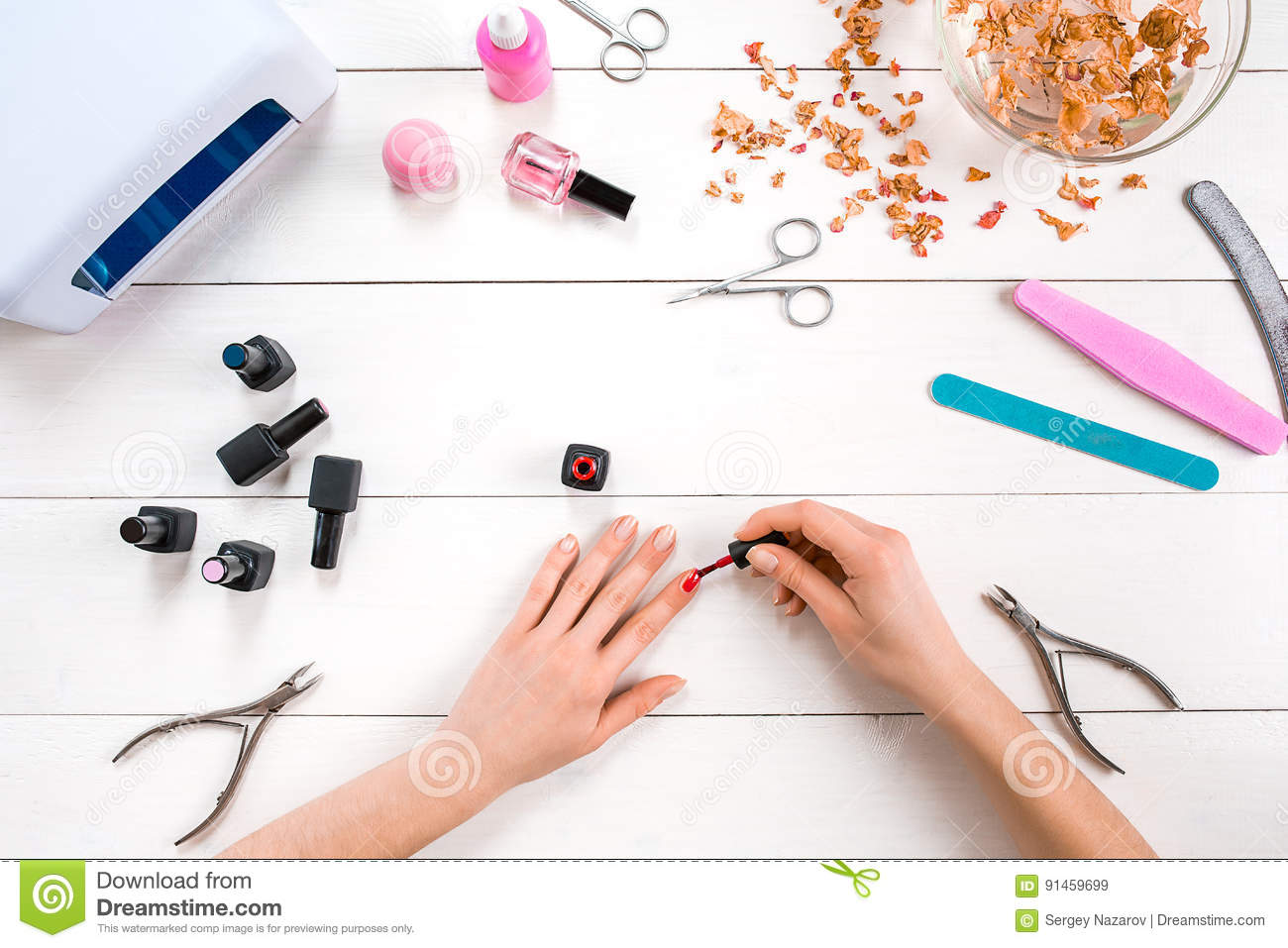 Paint Your Own Nails. Manicure Set And Nail Polish On Wooden ...