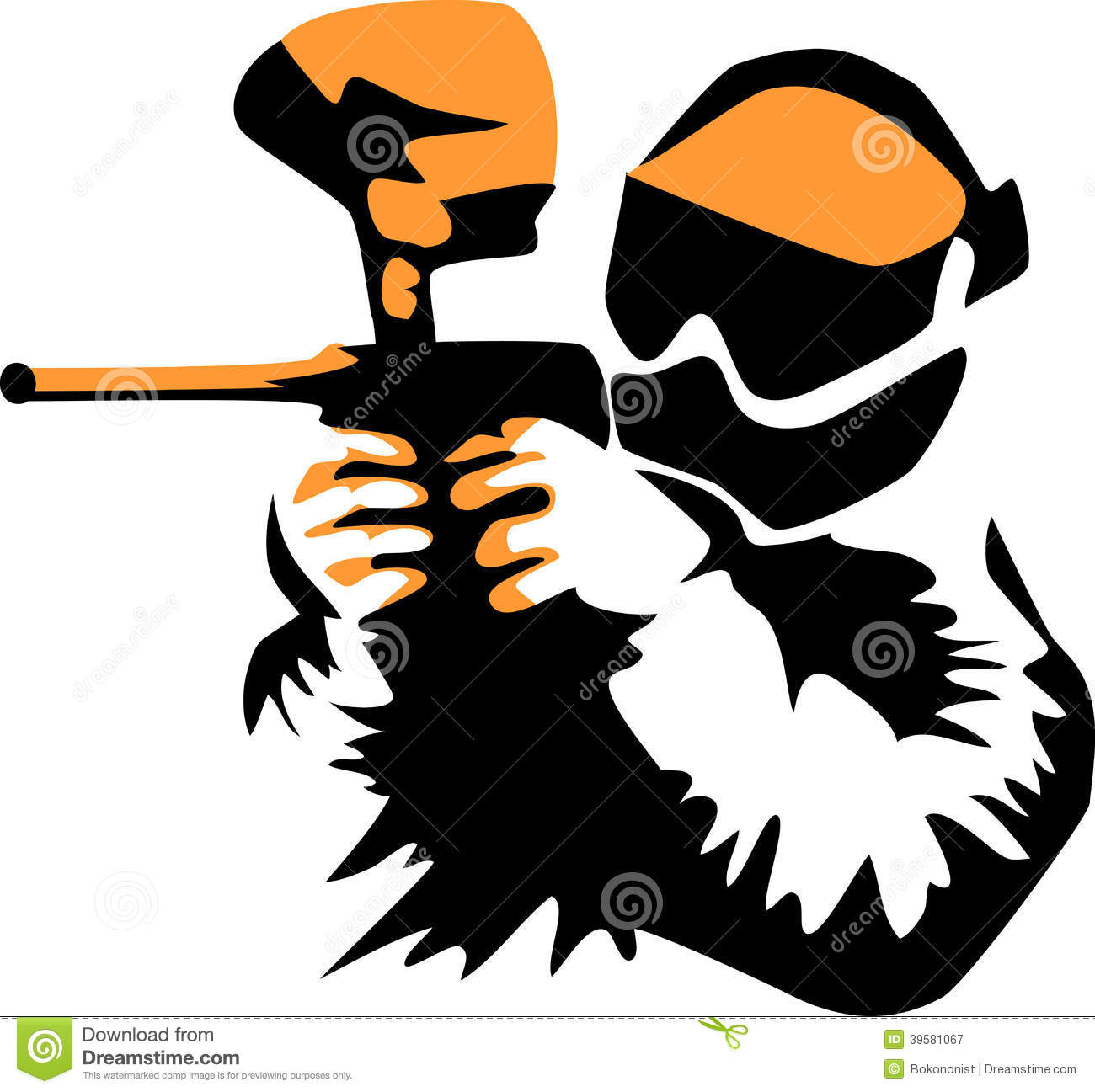 Paintballspieler - stilisierte schwarze und orange Illustration.
