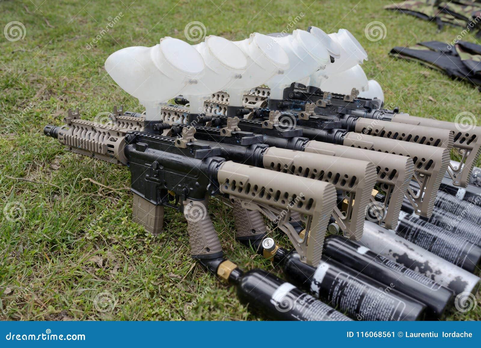 Paintball Guns On Battlefield Stock Image Image Of Ammunition