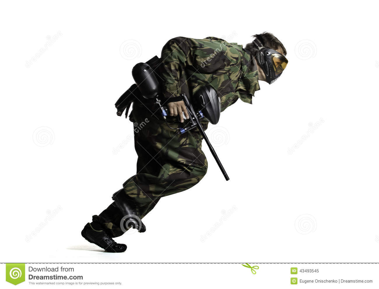 Paintball Player In Action Isolated Stock Photo - Image: 43493545