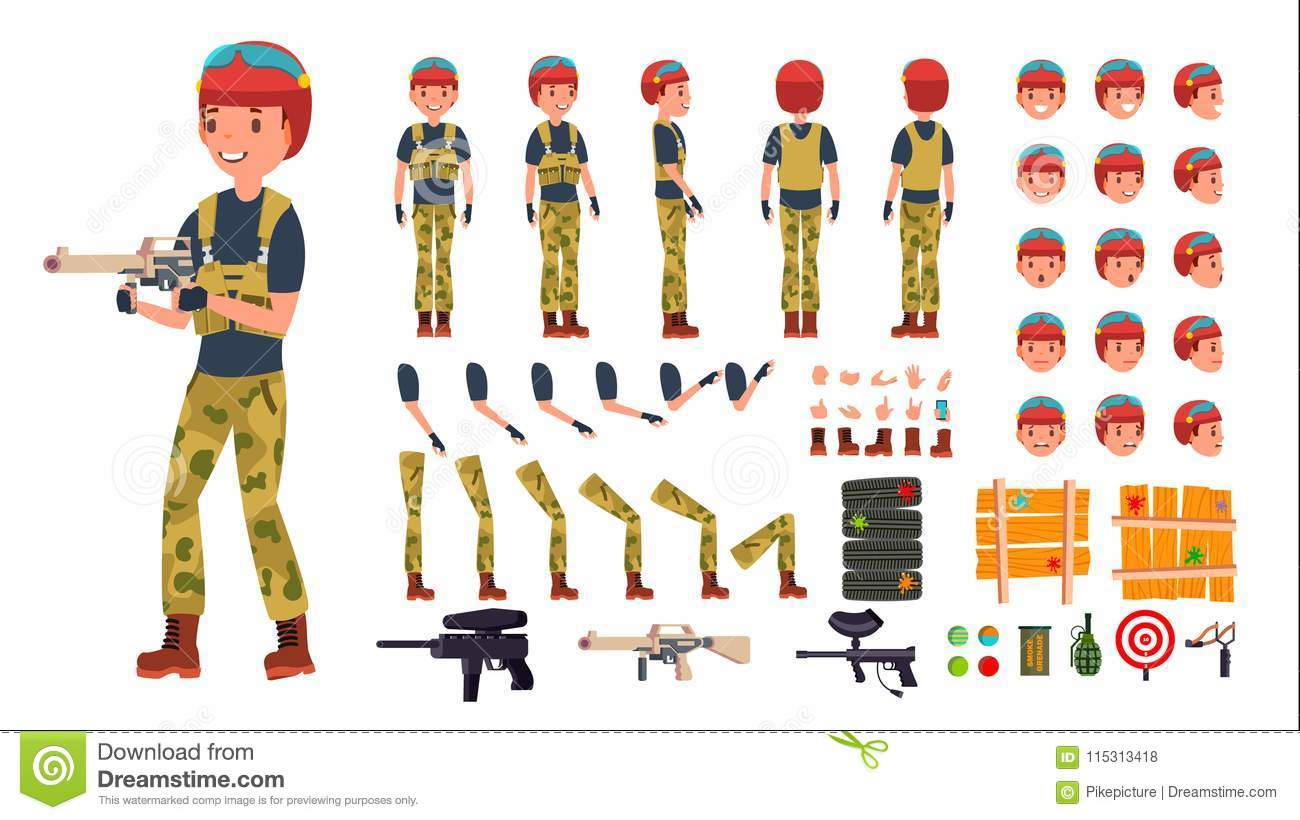Paintball Player Male Vector  Animated Character Creation