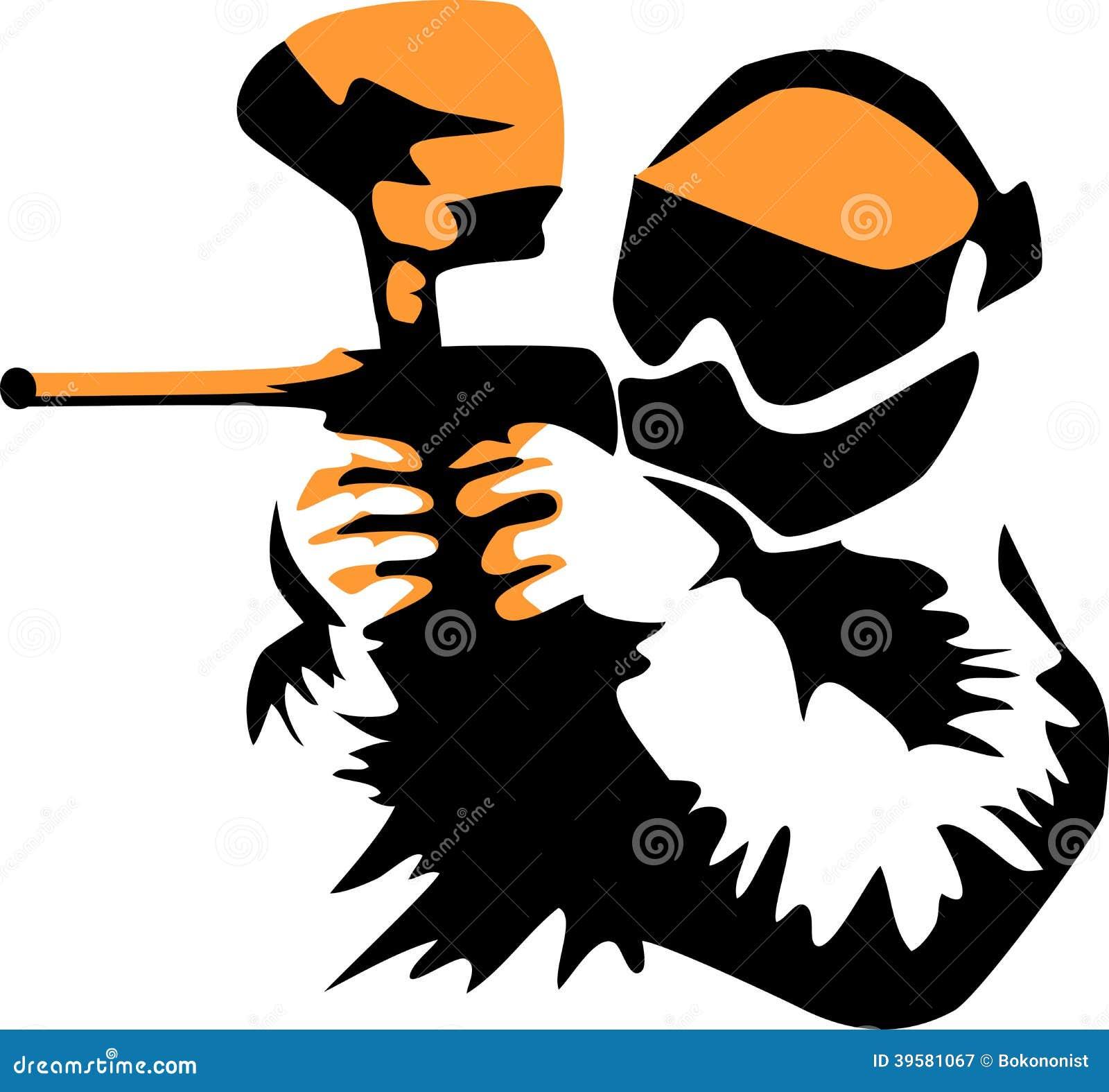 Paintball player - stylized black and orange illustration