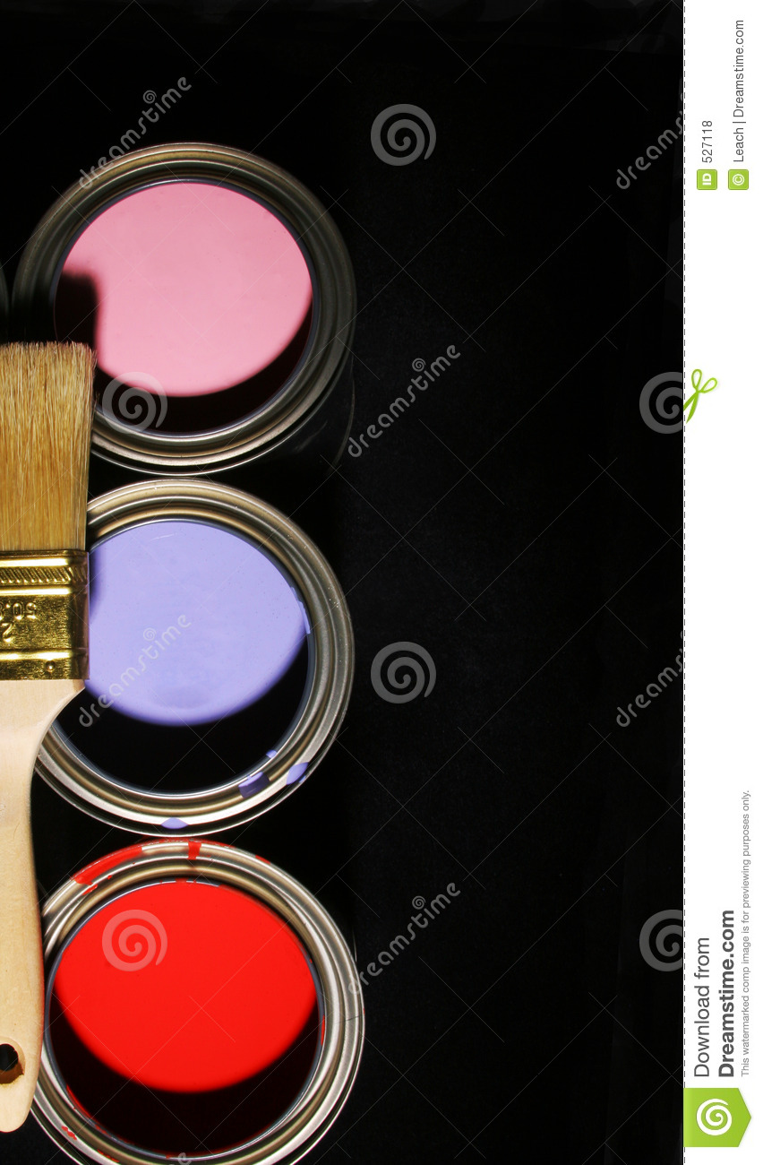 Paintbrush and Cans of Primary Colored Paints on Black Background