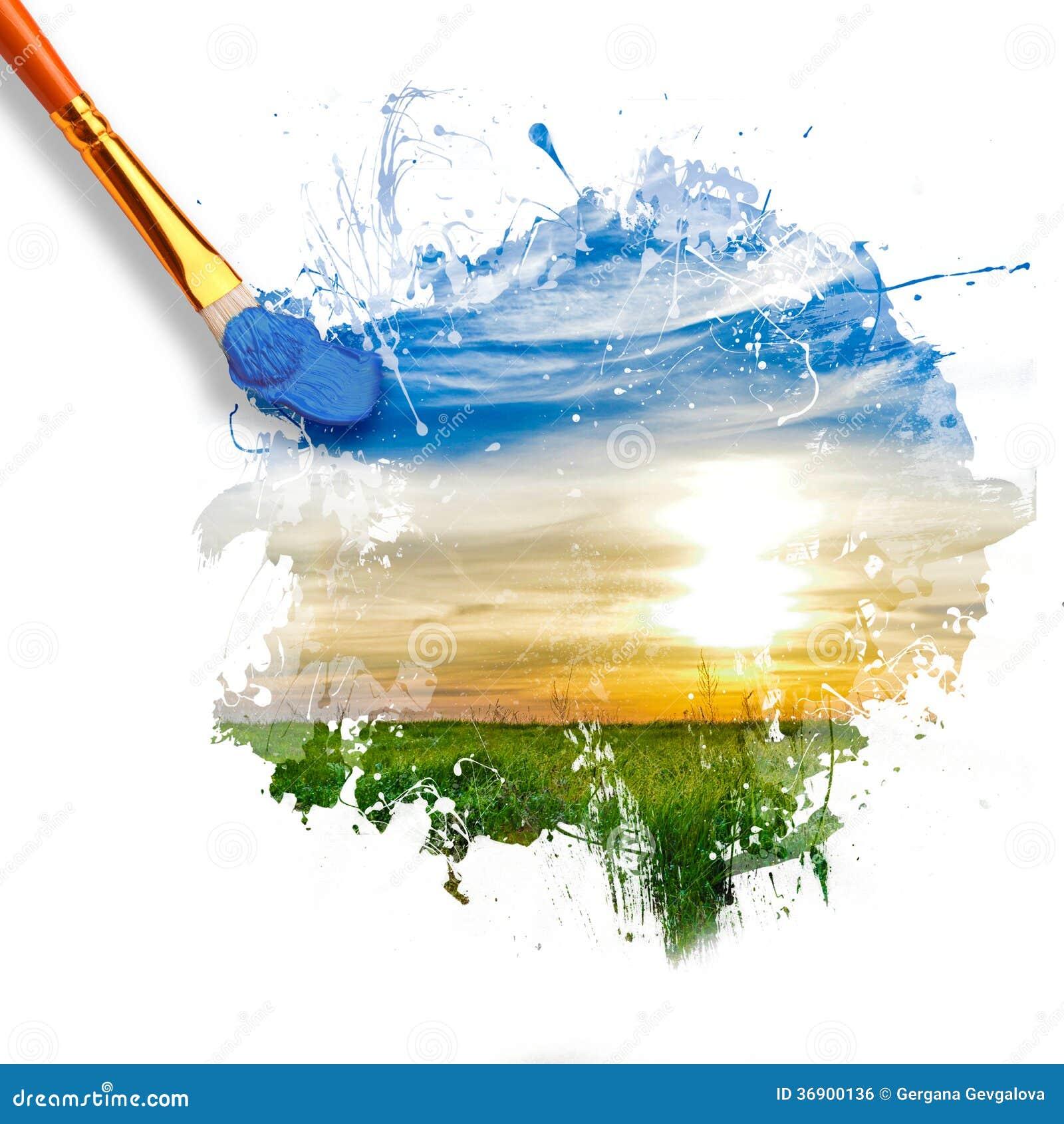 Paintbrush maluje pięknego krajobraz z wschodem słońca